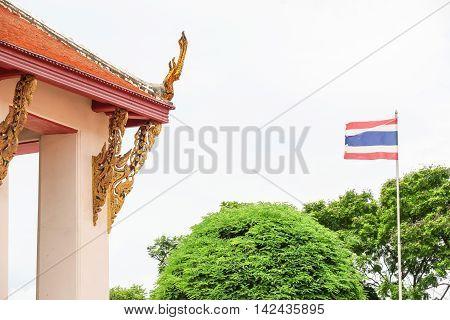THAI PILLAR OF THE TEMPLE and THAI FLAG LANDSCAPE