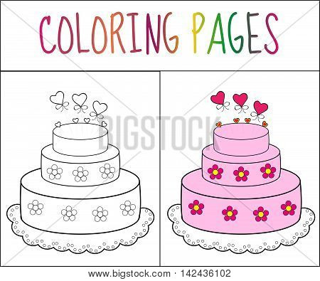 Coloring book page cake. Sketch and color version. Coloring for kids. Vector illustration