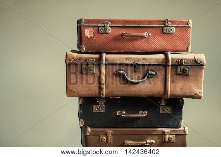 Vintage Ancient Suitcases Shabby Beige Background