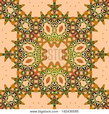 Abstract geometric seamless retro background. Ornate square ornament with ellipses in ocher brown and light green shades on light brown.