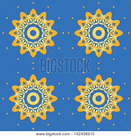 Geometric seamless retro background. Regular abstract symmetric blossoms yellow orange with orange dots on azure blue.