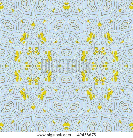 Abstract geometric seamless background. Regular ellipses ornament with yellow elements and outlines on pastel blue and lavender, ornate and extensive.