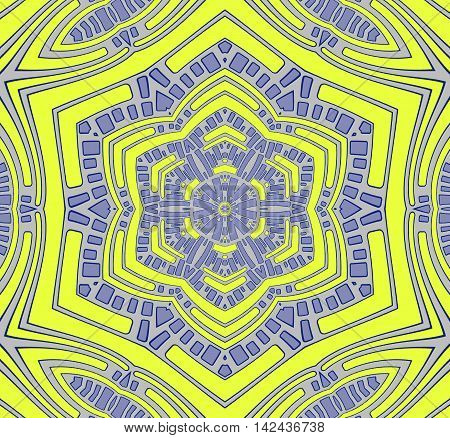 Abstract geometric seamless background. Conspicuous centered ornament in lemon yellow and light gray with purple elements, hexagon pattern.