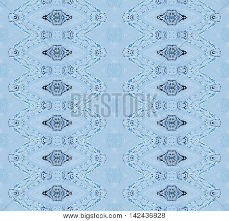 Abstract geometric seamless retro background. Regular ellipses pattern in light blue shades with black elements.