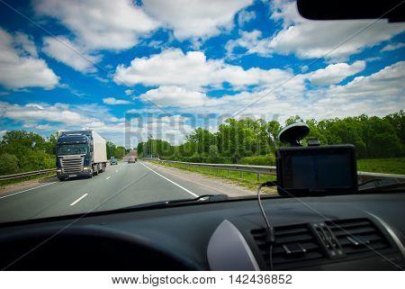 Road Russian Landscape Car Travel Blue Sky Cloud