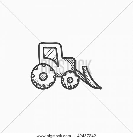 Bulldozer vector sketch icon isolated on background. Hand drawn Bulldozer icon. Bulldozer sketch icon for infographic, website or app.