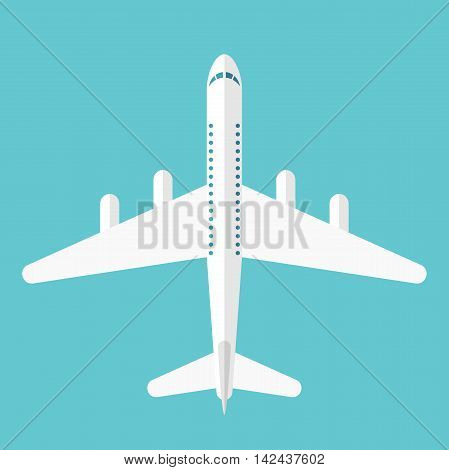 Beautiful white airplane isolated on blue top view. Flat style. Transportation flight and travel concept. EPS 8 vector illustration no transparency