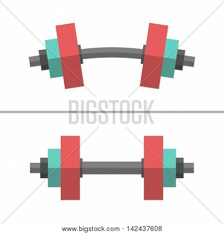 Set of normal and deformed bent dumbbells isolated on white. Sport equipment weight lifting exercise strength and gym concept. Flat style. EPS 8 vector illustration no transparency