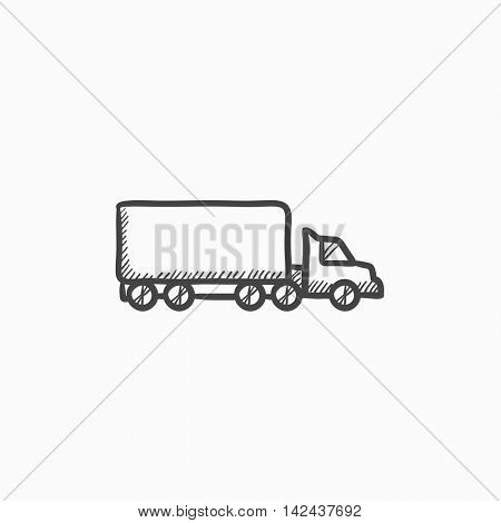 Delivery truck vector sketch icon isolated on background. Hand drawn Delivery truck icon. Delivery truck sketch icon for infographic, website or app.