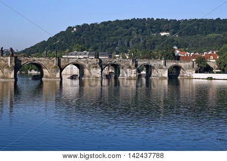 PRAGUE, CZECH REPUBLIC - JUNE 24, 2016: Charles Bridge over the Vltava River in Prague