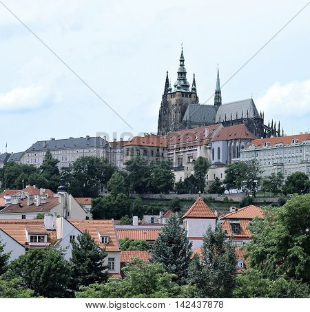 PRAGUE, CZECH REPUBLIC - JUNE 16, 2016: Prague Castle and Cathedral of saint Vitus in Prague Czech Republic