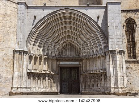 Entrance to Saint Mary Cathedral in Girona Catalonia Spain
