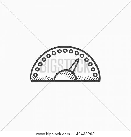 Speedometer vector sketch icon isolated on background. Hand drawn Speedometer icon. Speedometer sketch icon for infographic, website or app.