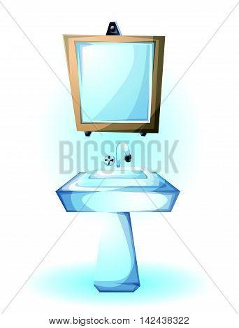 Cartoon Vector Illustration Interior Sink Object