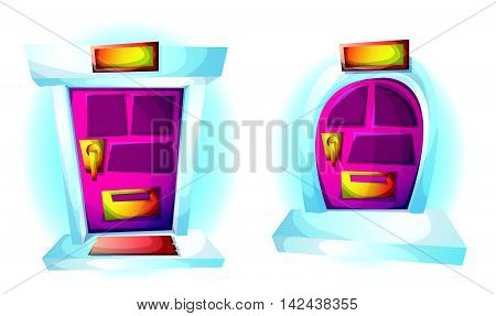 Cartoon Vector Illustration Exterior Doors