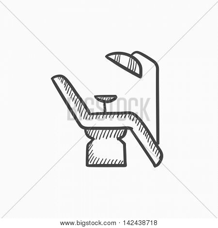 Dental chair vector sketch icon isolated on background. Hand drawn Dental chair icon. Dental chair sketch icon for infographic, website or app.