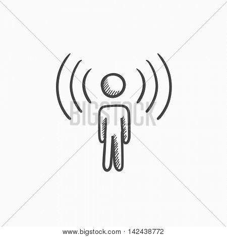Man with soundwaves vector sketch icon isolated on background. Hand drawn Man with soundwaves icon. Man with soundwaves sketch icon for infographic, website or app.
