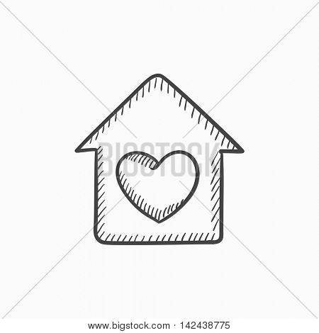 House with heart symbol vector sketch icon isolated on background. Hand drawn House with heart symbol icon. House with heart symbol sketch icon for infographic, website or app.