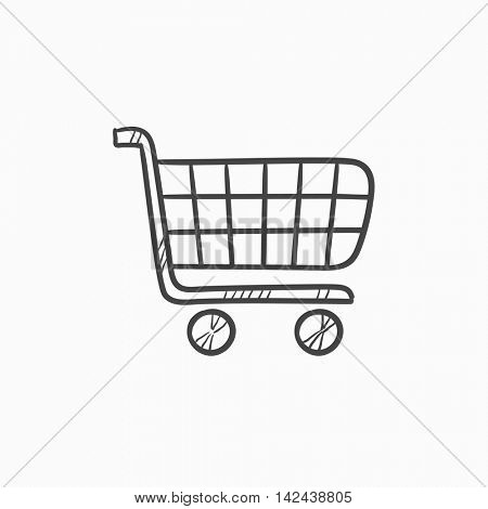 Shopping cart vector sketch icon isolated on background. Hand drawn Shopping cart icon. Shopping cart sketch icon for infographic, website or app.