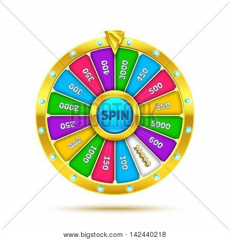 Colorful fortune wheel design. 3d Realistic wheel of fortune illustration, isolated on white. Eps10 vector fortune wheel illustration.