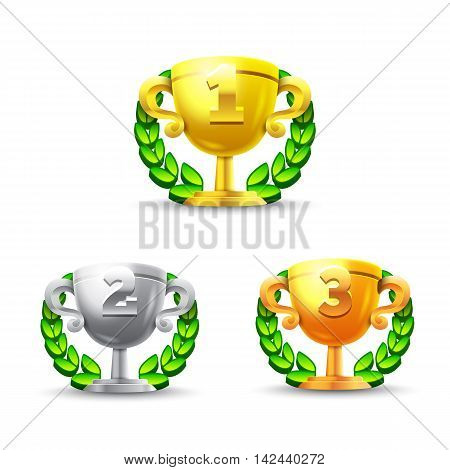 Challenge cups set. Applicable for game user interface. 1st, 2nd, 3rd places. 3d prizes illustration. Gold cup, silver cup, bronze cup. Isolated on white. Eps10 vector illustration.