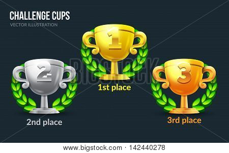 Challenge cups set. Applicable for game user interface. 1st, 2nd, 3rd places. 3d prizes illustration. Gold cup, silver cup, bronze cup. Eps10 vector illustration.