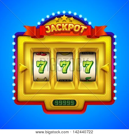 Gold slot machine illustration. Eps10 vector illustration.