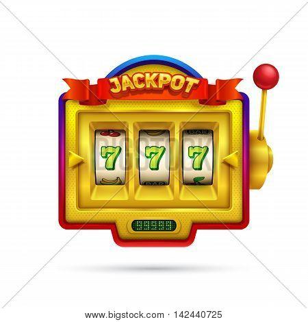 Slot machine illustration isolated on white background. Eps10 vector illustration.