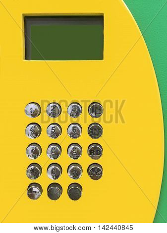 The display and dial number of public telephone.