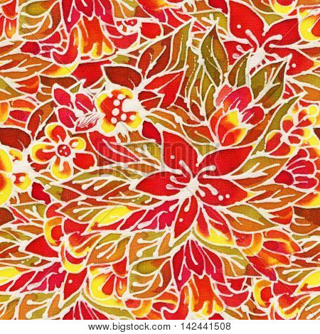 The intricate batik pattern with texture of fabric. Seamless pattern. Hand-drawn illustration.