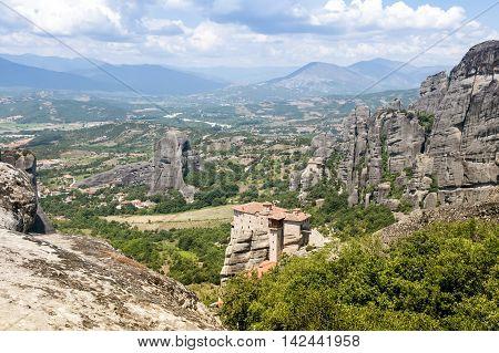 Mountain landscape in Meteora - religious greek landmark, Thessaly, Greece