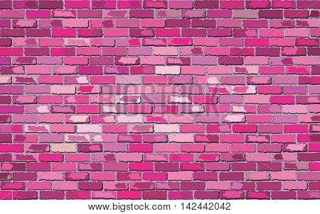 Pink brick wall - Illustration,  Shades of pink brick wall vector,  Seamless realistic Light And Dark pink colour brick wall,  Abstract grunge vector illustration
