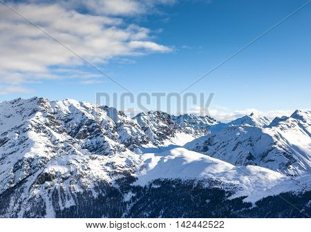 Winter landscape with Dolomite Alps mountains, Livigno, Italy