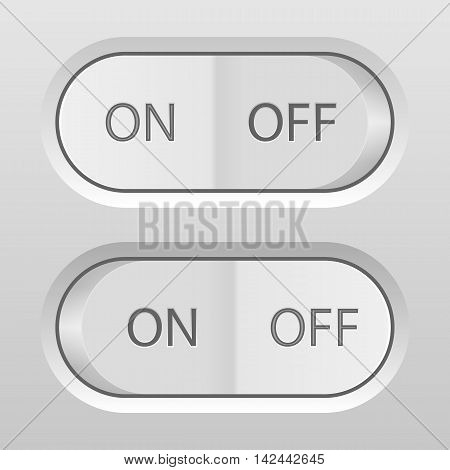 On/off buttons on a grey background. Vector illustration.