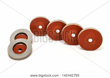Set of 6 Grinding and polishing wheels on white background