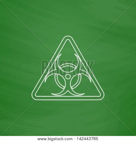 Biohazard Outline vector icon. Imitation draw with white chalk on green chalkboard. Flat Pictogram and School board background. Illustration symbol