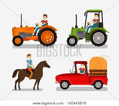 Farm icons set. Cartoon symbol such as tractor, truck, horse, farmer. Vector illustration