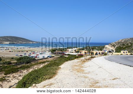 HODES ISLAND, GREECE - CIRCA AUGUST 2011: Overlooking view to Gulf of Prasonisi, Rhodes, Greece, circa august 2011