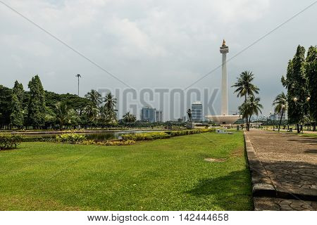 The National Monument - tower in the centre of Merdeka Square Jakarta. Symbolizing the fight for Indonesia.