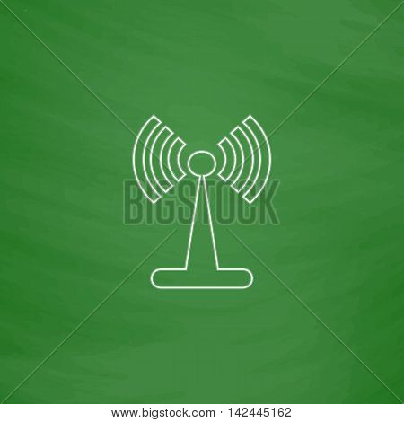 Antenna Outline vector icon. Imitation draw with white chalk on green chalkboard. Flat Pictogram and School board background. Illustration symbol