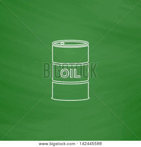 Oil barrels Outline vector icon. Imitation draw with white chalk on green chalkboard. Flat Pictogram and School board background. Illustration symbol
