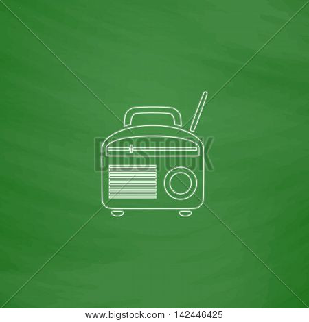 Radio Outline vector icon. Imitation draw with white chalk on green chalkboard. Flat Pictogram and School board background. Illustration symbol