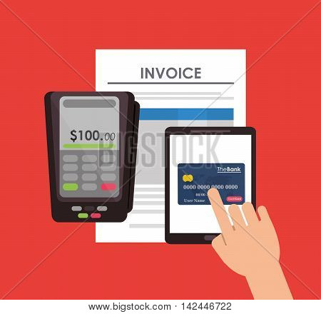 document credit card tablet icon. payment financial item icon. Invoice design, vector illustration
