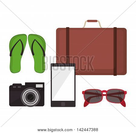 suitcase sandals camera glasses smartphone vacation summer travel tourism icon, vector illustration