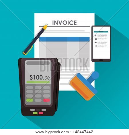 dataphone pen document payment financial item icon. Invoice design, vector illustration
