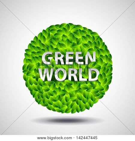 Ball from leaves and words green world ecology concept vector background