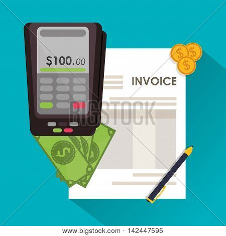 dataphone pen bills coins document payment financial item icon. Invoice design, vector illustration