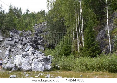 A cairn of white marble of different sizes on a background of green