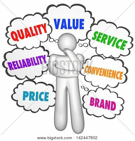 Quality Value Service Best Product Company Thinker Thought Clouds 3d Illustration
