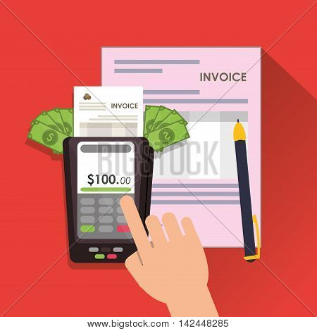 dataphone bills document payment financial item icon. Invoice design, vector illustration